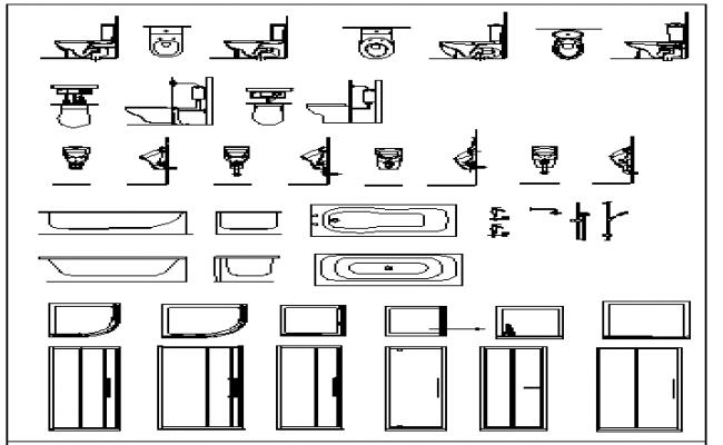 Wash Basin Front Elevation Autocad : Sanitary and toilet door blocks design details dwg file