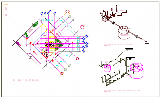 Sanitary block and Construction design drawing with isometric view.