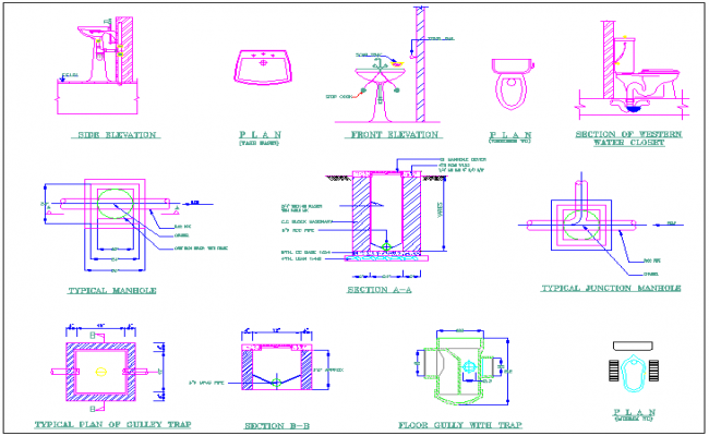 Sanitary design view of college building design dwg file