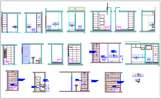 Sanitary design view of different types washing area dwg file