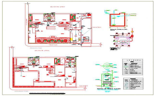 Sanitary detail of house plan
