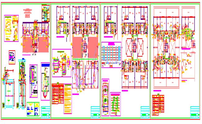 Sanitary facilities building 6 floors design drawing