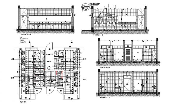 Sanitary facilities of sports center-section and plan details dwg file