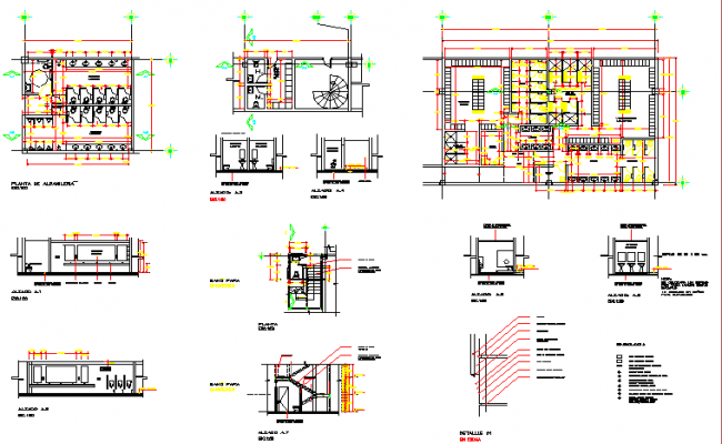 Sanitary facilities sectional and installation details of shopping center dwg file