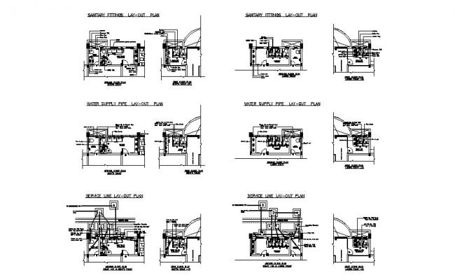 Sanitary fittings, layout plan, water supply and service plan cad drawing details dwg file