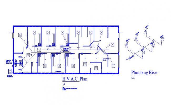Sanitary installation, plumbing riser and plan details of