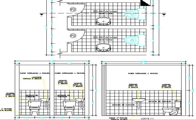 Sanitary installation and sectional details of municipal office dwg file