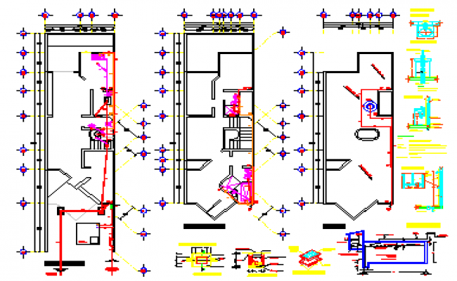 Sanitary installation design drawing of house design