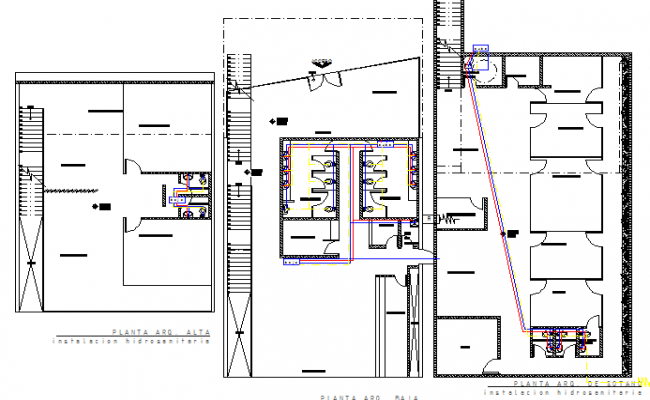 Sanitary installation details of all floors of government building dwg file