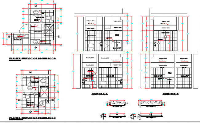 Sanitary installation details of bank agency building dwg file
