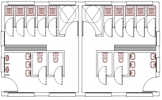 Sanitary installation details of city sports center dwg file