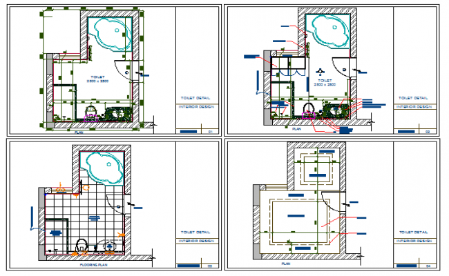 Sanitary installation details of house project dwg file