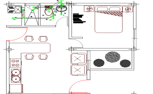 Sanitary installation details of house with architecture layout dwg file