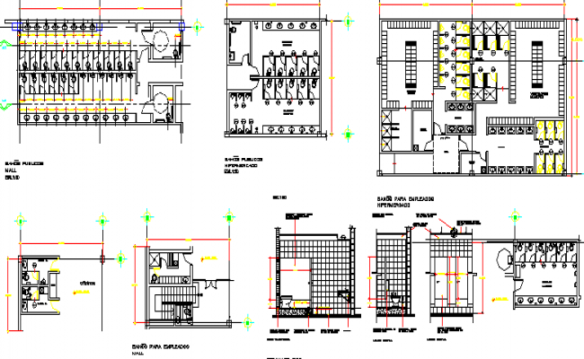 Sanitary installation details of male and female toilets of mall dwg file