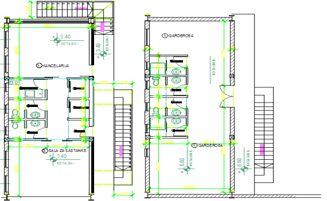 Sanitary installation details of production house dwg file