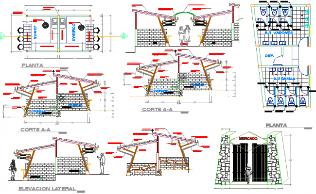 Sanitary installation details of shopping center dwg file