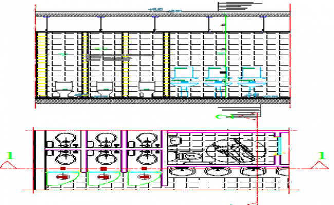 Sanitary installation details of two-flooring restaurant dwg file