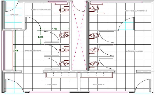 Sanitary installation details of villa dwg file
