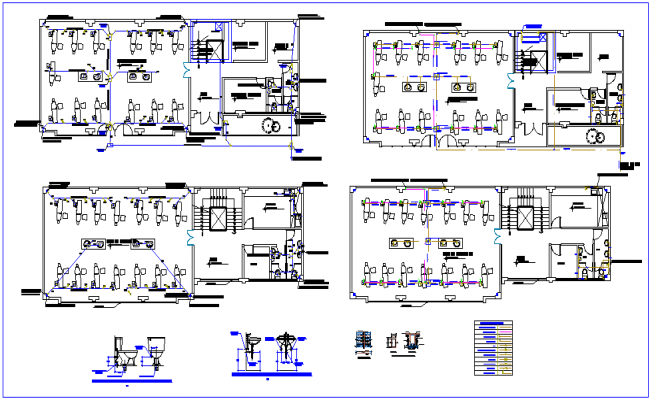 Sanitary installation floor plan with detail for clinic dwg file