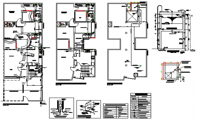 Sanitary installation in housing design drawing