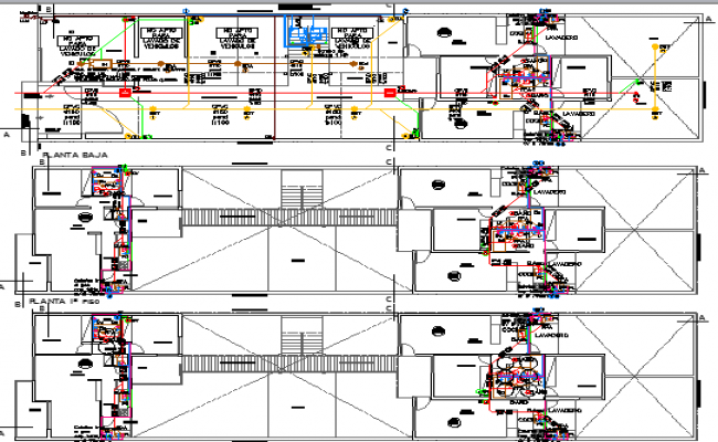 Sanitary installation of apartment building dwg file
