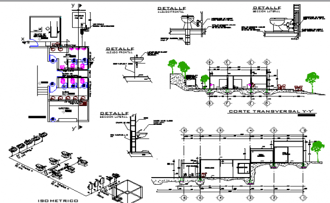 Sanitary installation of city education center dwg file
