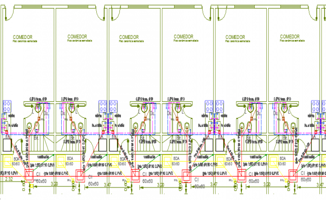 Sanitary installation of eight units group habitation dwg file
