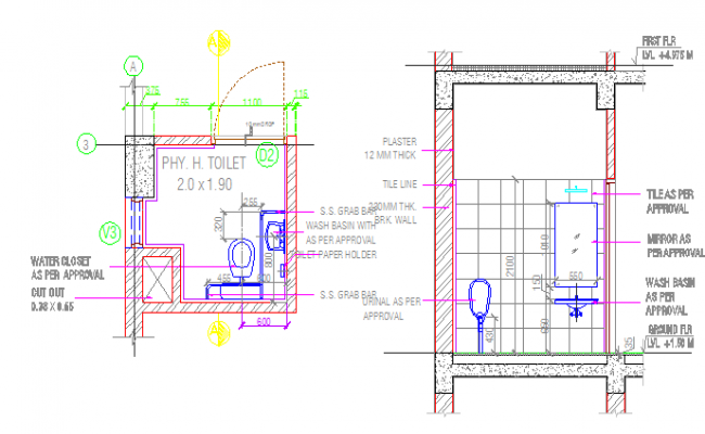 Sanitary installation of housing building details dwg file