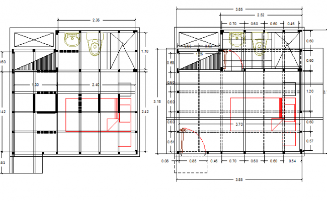 Sanitary installation of two bedrooms with plan dwg file