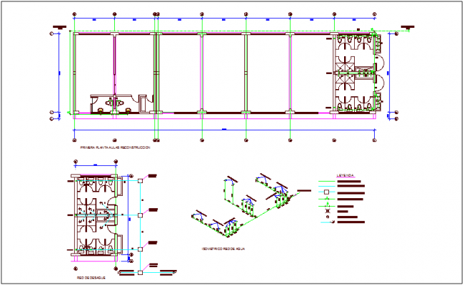 Sanitary installation view of classroom with its legend and isometric view dwg file