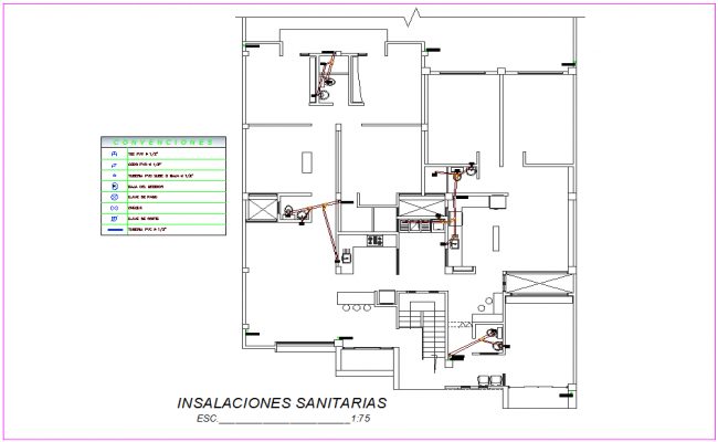 Sanitary installation view of housing design dwg file