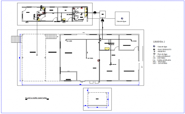 Sanitary installation view of industrial area dwg file