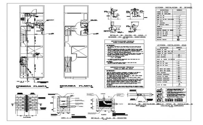 Sanitary installation view of single family house dwg file