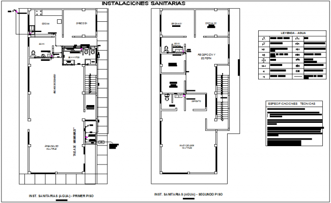 Sanitary installation view with its legend for maternity and pediatric care center dwg file