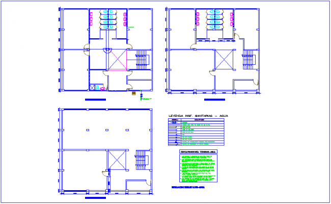 Sanitary installation view with its legend in floor plan of training center dwg file