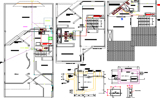 Sanitary installation with plan of multi-level house dwg file