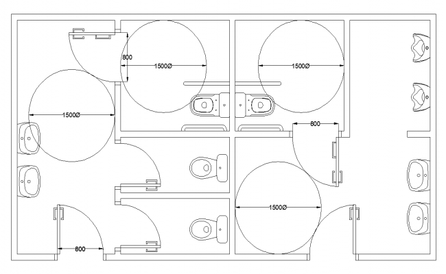 Sanitary public toilet structure 2d view layout dwg file