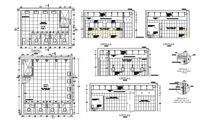 Sanitary section, plan, installation and plumbing details dwg file
