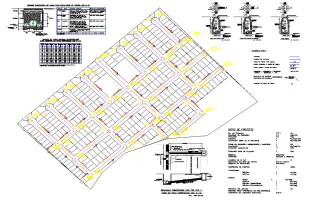 Sanitary sewage network layout file