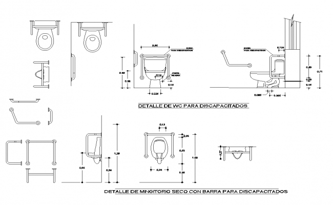 Sanitary toilet detail elevation and plan layout autocad file