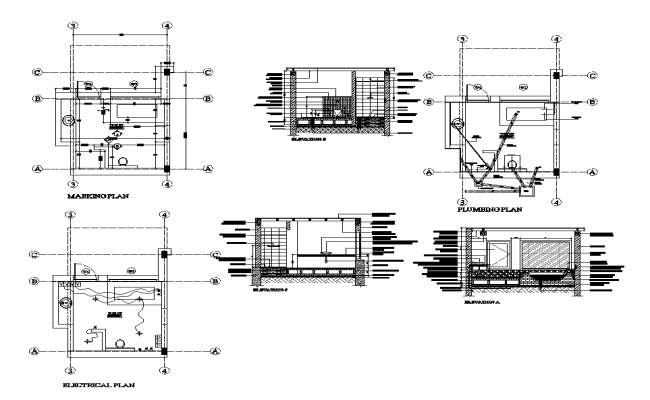 Sanitary toilet detail plan layout autocad file