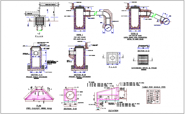 Sanitary view of catch basin dwg file