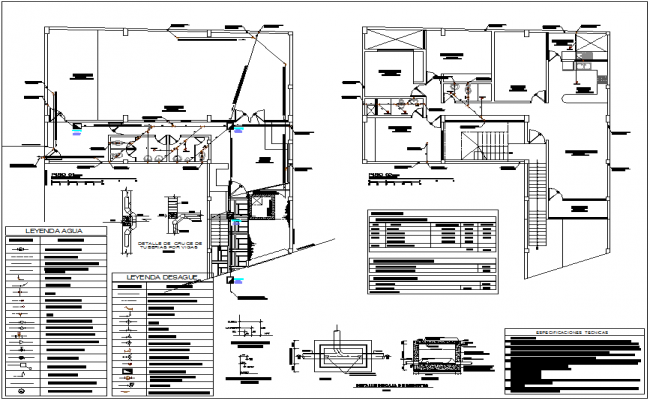 Sanitary view of housing area with first and second floor plan dwg file