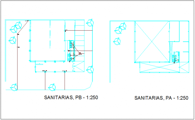 Sanitary view of material delivery office of government dwg file
