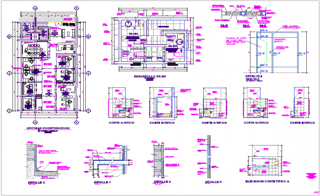 Sanitary view of office dwg file