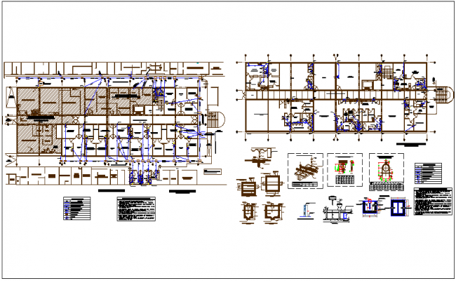 Sanitary view with detail and legend of hospital design dwg file