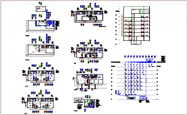 Sanitary view with hydraulic line plan and elevation dwg file