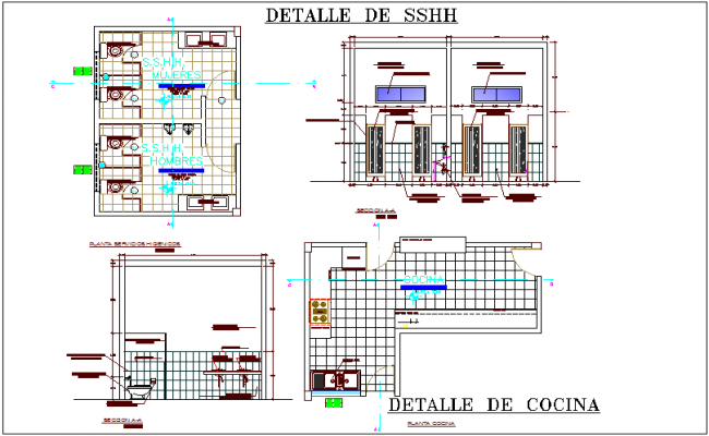 Sanitary view with kitchen plan view of city hall dwg file