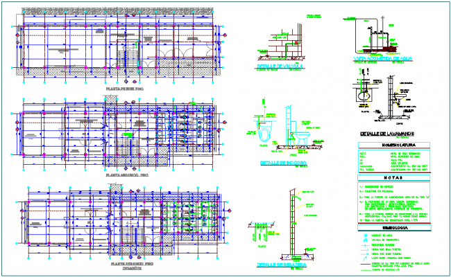 Sanitary view with plan and detail view for mining training dwg file