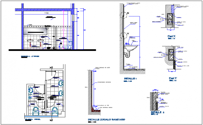 Sanitary view with plan and section view with detail for dental clinic dwg file